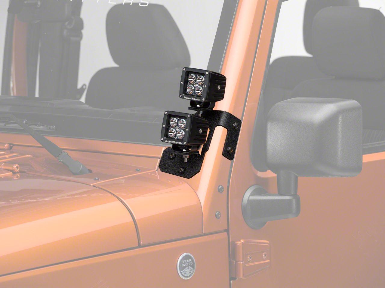 Rugged Ridge 3 in. Square LED Lights w/ Textured Black Dual A-Pillar Light Mounting Brackets (07-18 Jeep Wrangler JK)
