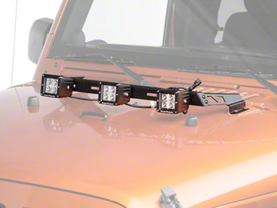 Rugged Ridge 3 in. Square LED Lights w/ Textured Black Hood Mounted Light Bar (07-18 Jeep Wrangler JK)