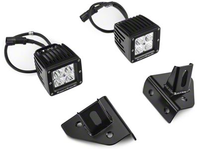Rugged Ridge 3 in. Square LED Lights w/ Windshield Mounting Brackets (87-95 Jeep Wrangler YJ)