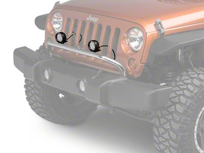 Rugged Ridge 3.5 in. Round LED Lights w/ Stainless Steel Front Bumper Light Bar (07-18 Jeep Wrangler JK)