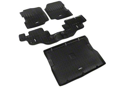 Rugged Ridge All-Terrain Front, Rear & Cargo Floor Mats - Black (87-95 Jeep Wrangler YJ)