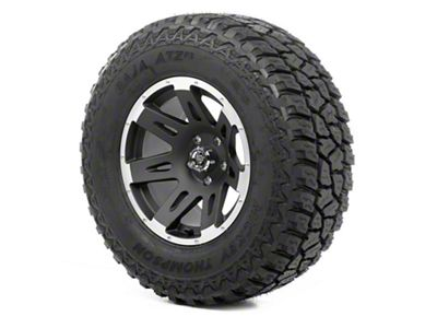 Rugged Ridge XHD Wheel 17x9 Black Satin w/ Machined Lip and Mickey Thompson ATZ P3 305/65R17 Tire (07-18 Jeep Wrangler JK)