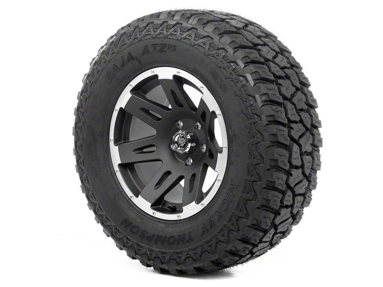 Rugged Ridge XHD Wheel 17x9 Black Satin w/ Machined Lip and Mickey Thompson ATZ P3 305/65R17 Tire (07-18 Jeep Wrangler JK)