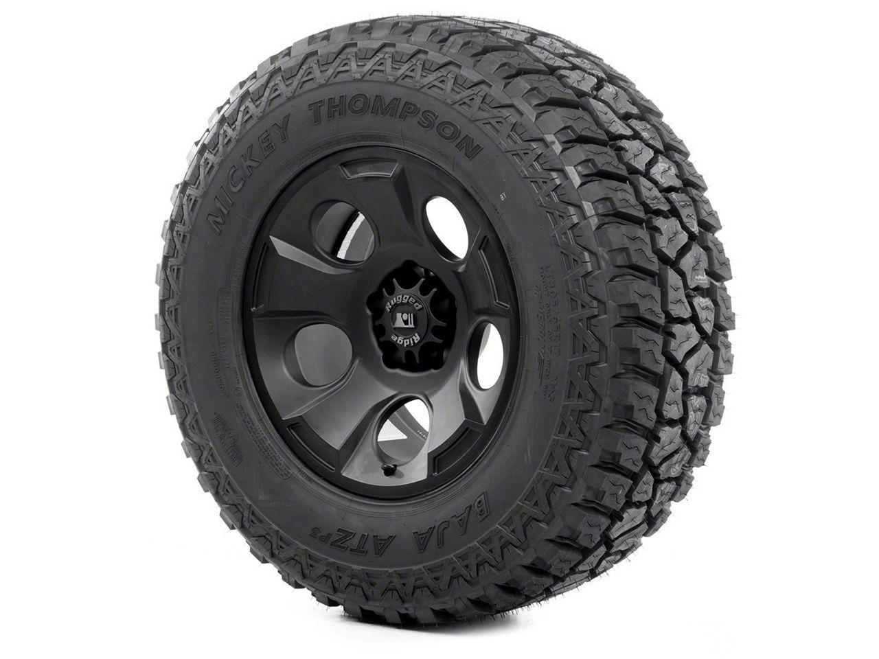 Rugged Ridge Drakon Wheel 17x9 Black Satin and Mickey Thompson ATZ P3 315/70R17 Tire (13-18 Jeep Wrangler JK; 2018 Jeep Wrangler JL)
