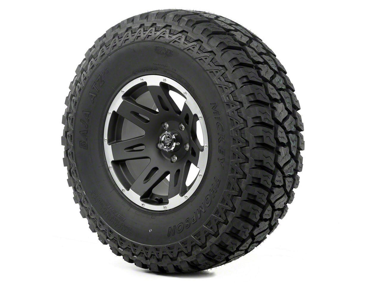 Rugged Ridge XHD Wheel 17x9 Black Satin w/ Machined Lip and Mickey Thompson ATZ P3 37x12.50x17 Tire (13-18 Jeep Wrangler JK; 2018 Jeep Wrangler JL)