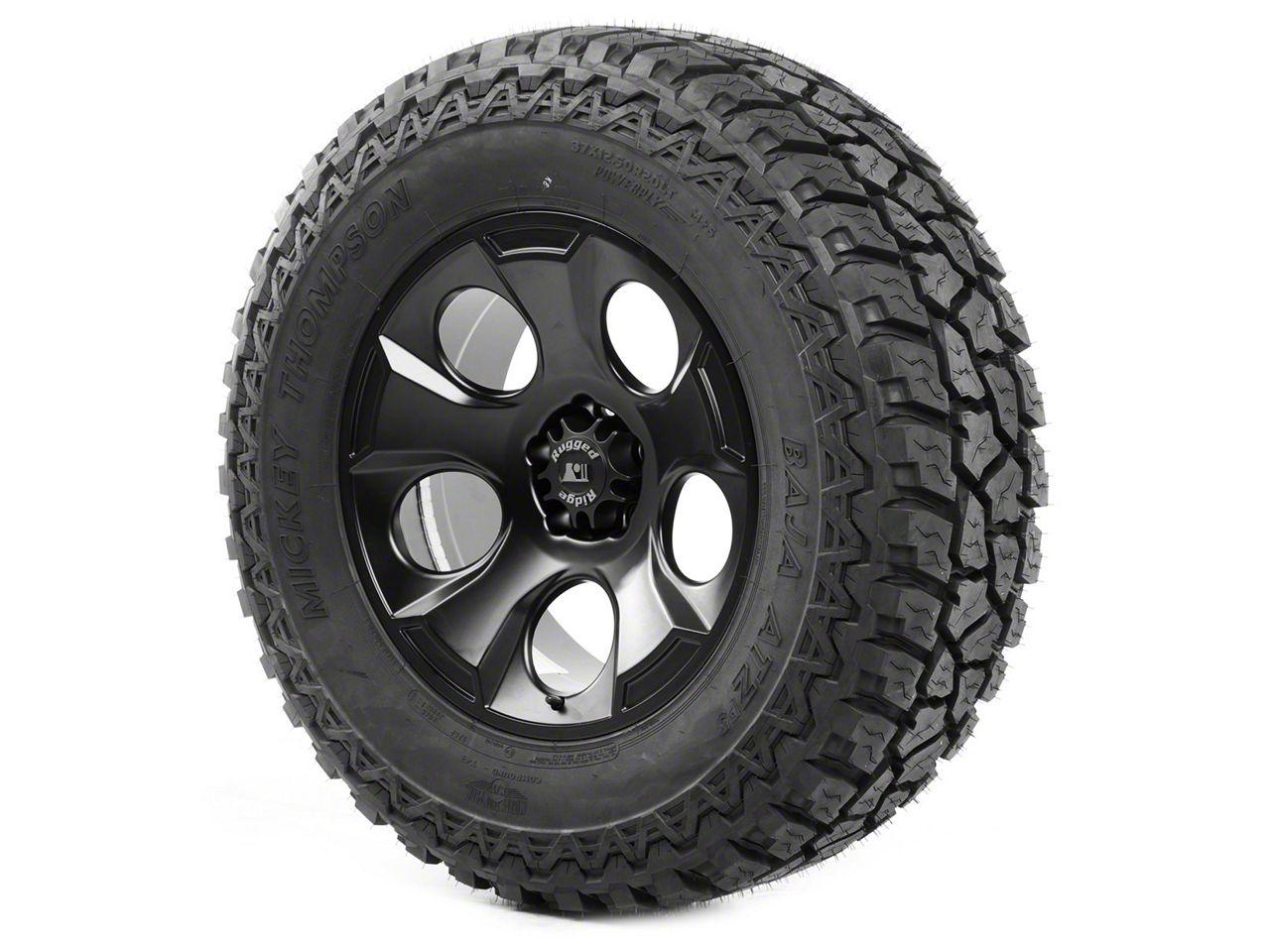Rugged Ridge Drakon Wheel 20x9 Black Satin and Mickey Thompson ATZ P3 37x12.50x20 Tire (13-18 Jeep Wrangler JK; 2018 Jeep Wrangler JL)