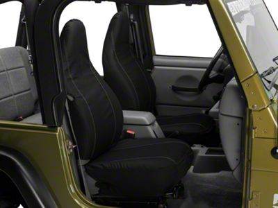 Barricade Custom Front Seat Covers - Black w/ Pockets (97-06 Jeep Wrangler TJ)