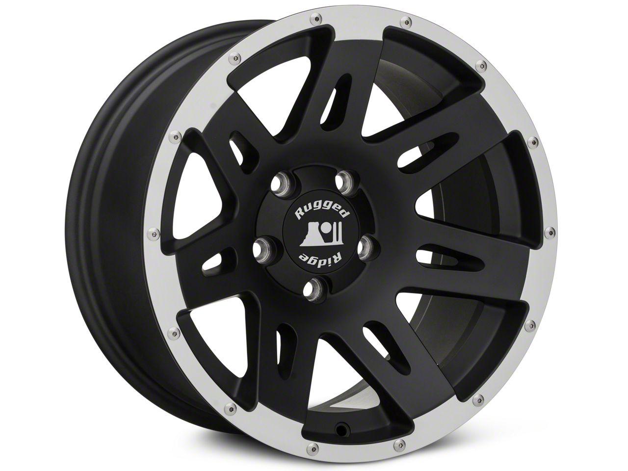 Rugged Ridge XHD Black Machined Wheel - 17X9 (07-18 Jeep Wrangler JK; 2018 Jeep Wrangler JL)