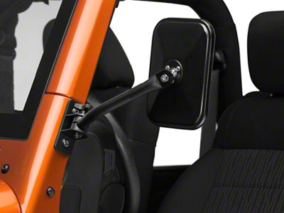 Barricade Quick Release Textured Rectangular Mirrors - Black (07-18 Jeep Wrangler JK)
