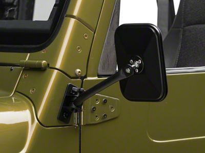 Barricade Quick Release Textured Rectangular Mirrors - Black (97-06 Jeep Wrangler TJ)