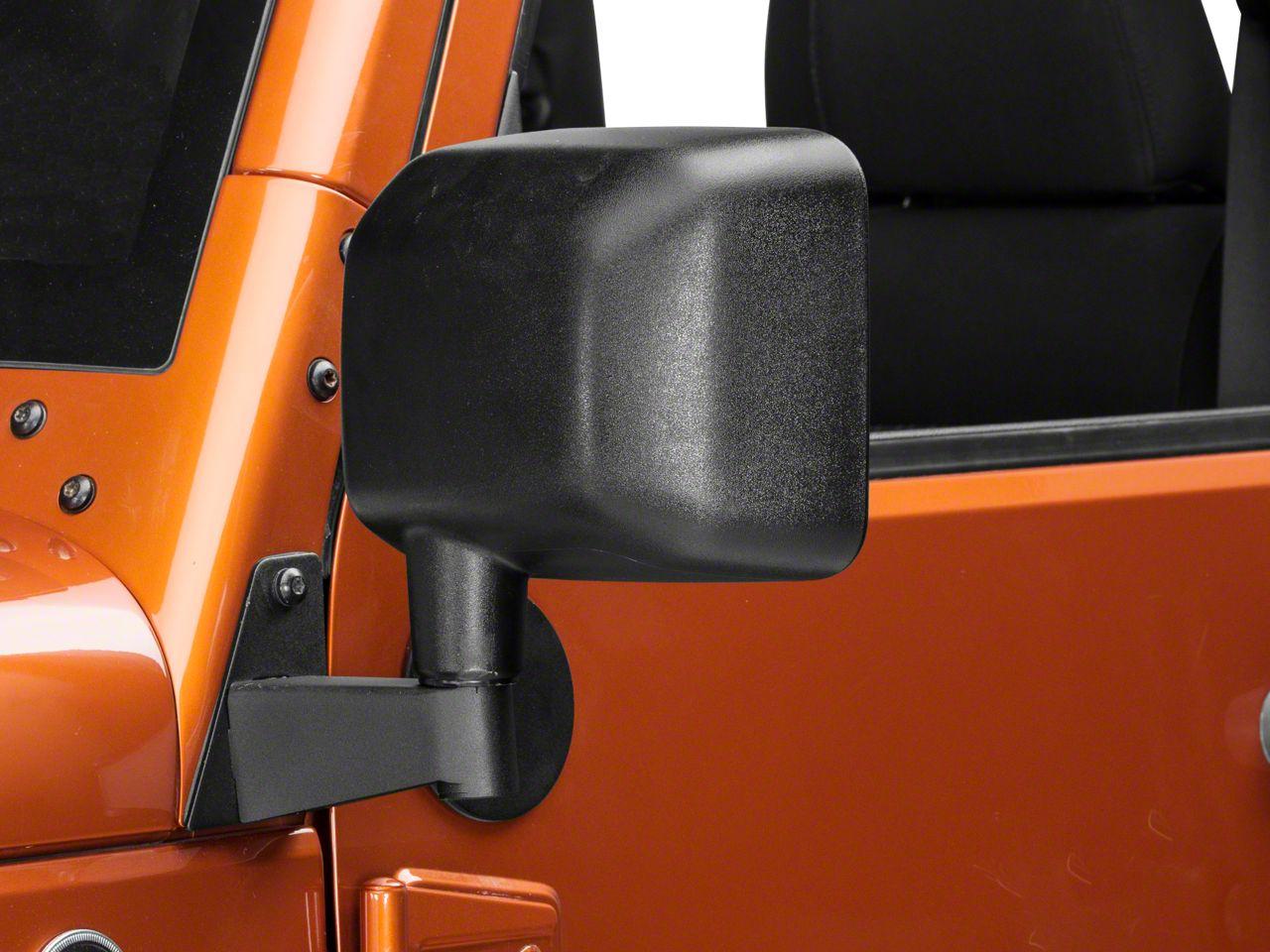 Rugged Ridge Mirror Relocation Brackets - Textured Black (07-18 Jeep Wrangler JK)