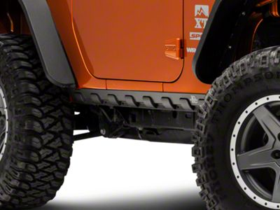 Rugged Ridge Body Armor Smooth Rocker Guard Kit - Black Matte (07-18 Jeep Wrangler JK 2 Door)