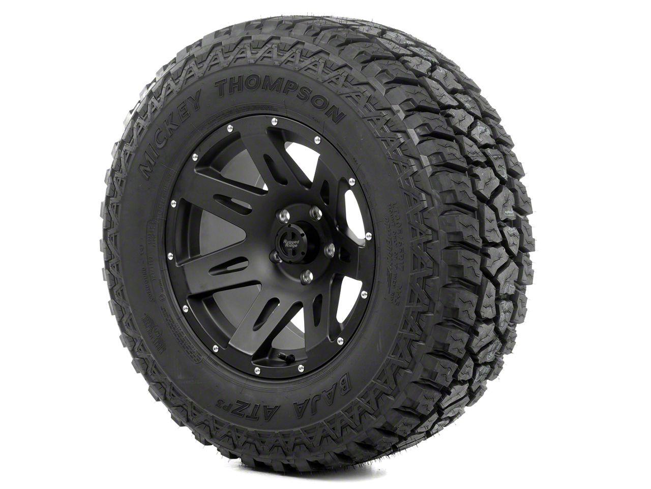 Rugged Ridge XHD Wheel 17x9 Black Satin and Mickey Thompson ATZ P3 305/65R17 Tire Kit (07-12 Jeep Wrangler JK)