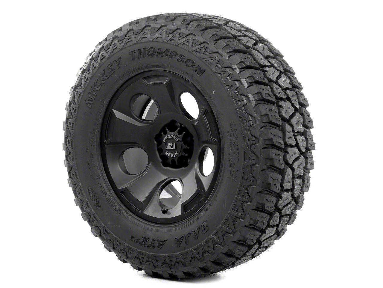 Rugged Ridge Drakon Wheel 17x9 Black Satin and Mickey Thompson ATZ 305/65R17 Tire Kit (07-18 Jeep Wrangler JK)