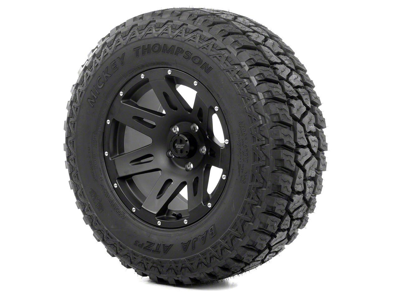 Rugged Ridge XHD Wheel 17x9 Black Satin and Mickey Thompson ATZ P3 315/70R17 Tire Kit (07-12 Jeep Wrangler JK)