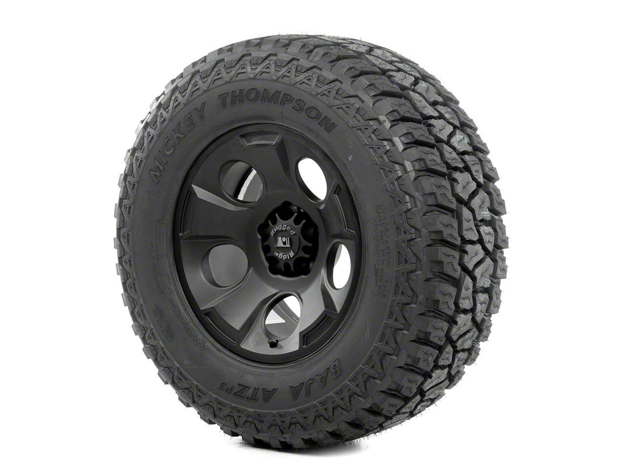 Rugged Ridge Drakon Wheel 17x9 Black Satin and Mickey Thompson ATZ P3 315/70R17 Tire Kit (07-12 Jeep Wrangler JK)