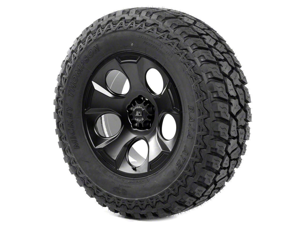 Rugged Ridge Drakon Wheel 20x9 Black Satin and Mickey Thompson ATZ P3 37x12.50x20 Tire Kit (07-12 Jeep Wrangler JK)