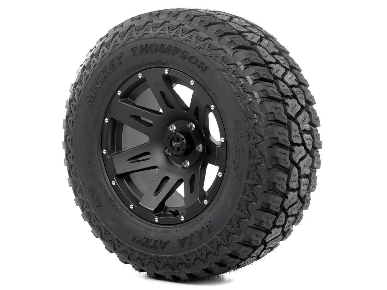 Rugged Ridge XHD Wheel 17x9 Black Satin and Mickey Thompson ATZ P3 305/65R17 Tire Kit (13-18 Jeep Wrangler JK; 2018 Jeep Wrangler JL)