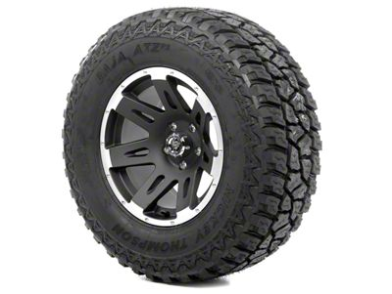 Rugged Ridge XHD Wheel 17x9 Black Satin w/Machined Lip and Mickey Thompson ATZ P3 305/65R17 Tire Kit (13-18 Jeep Wrangler JK; 2018 Jeep Wrangler JL)