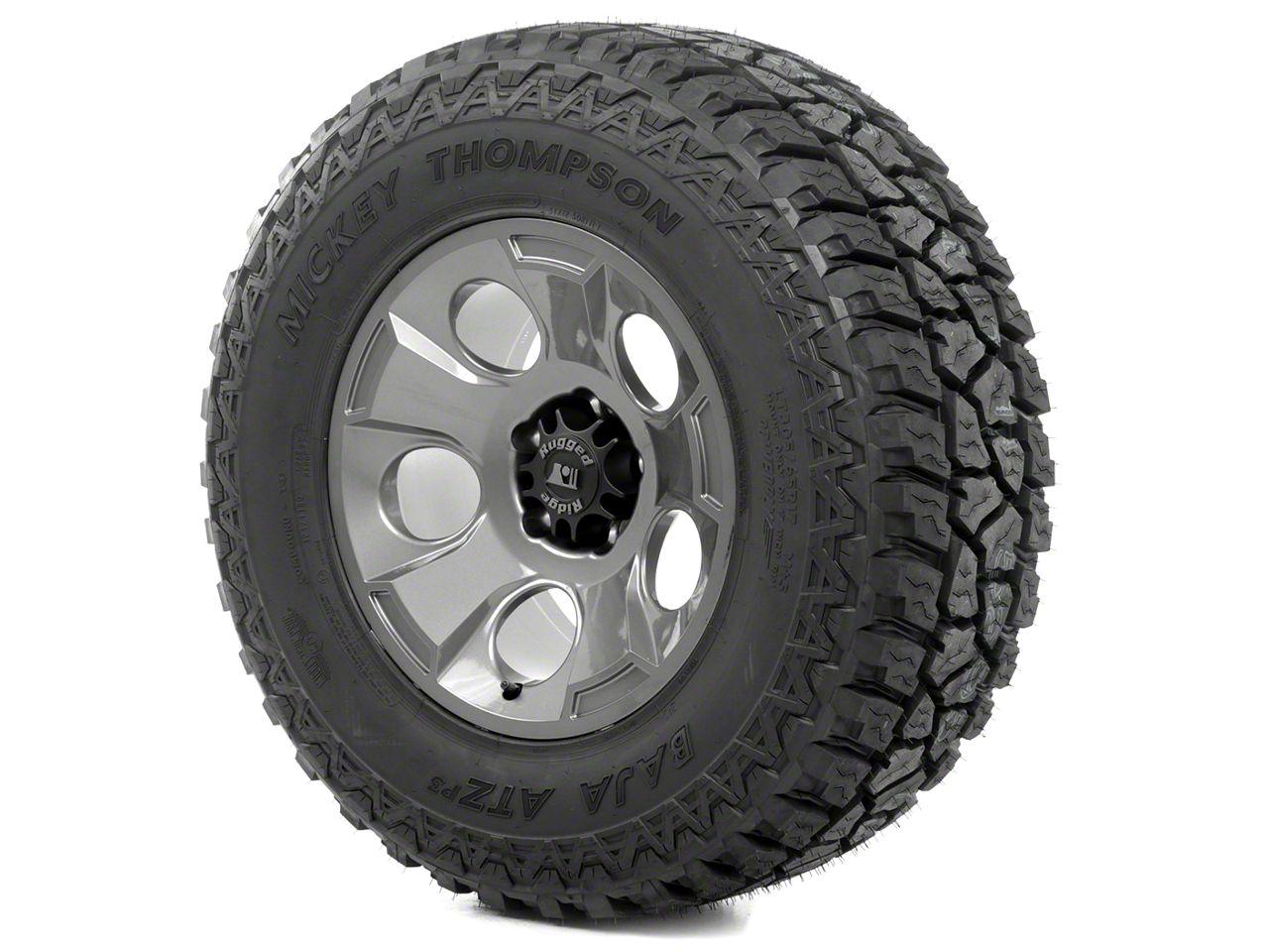 Rugged Ridge Drakon Wheel 17x9 Gun Metal and Mickey Thompson ATZ P3 315/70R17 Tire Kit (07-18 Jeep Wrangler JK)