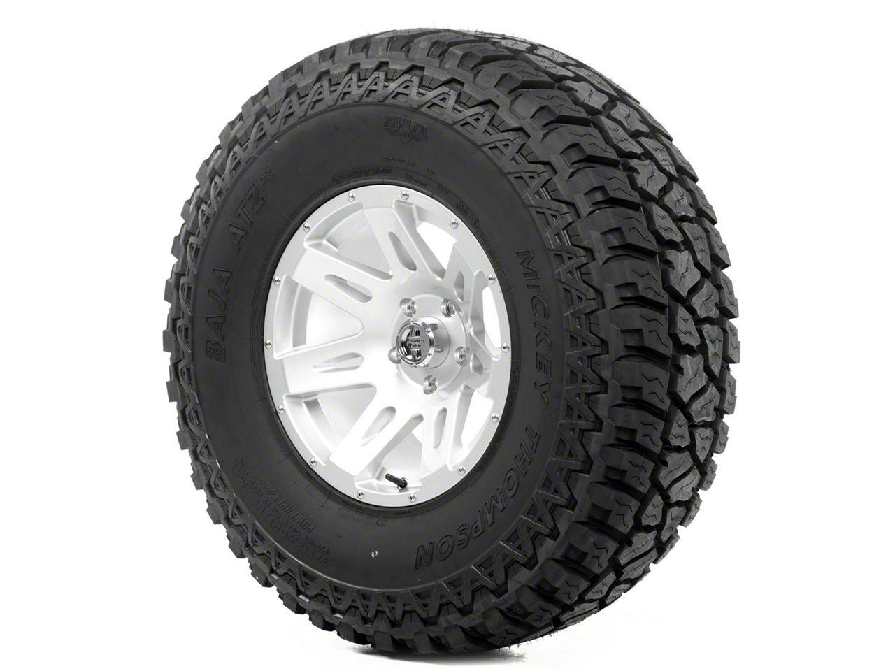 Rugged Ridge XHD Wheel 17x9 Silver and Mickey Thompson ATZ P3 37x12.50x17 Tire Kit (13-18 Jeep Wrangler JK; 2018 Jeep Wrangler JL)