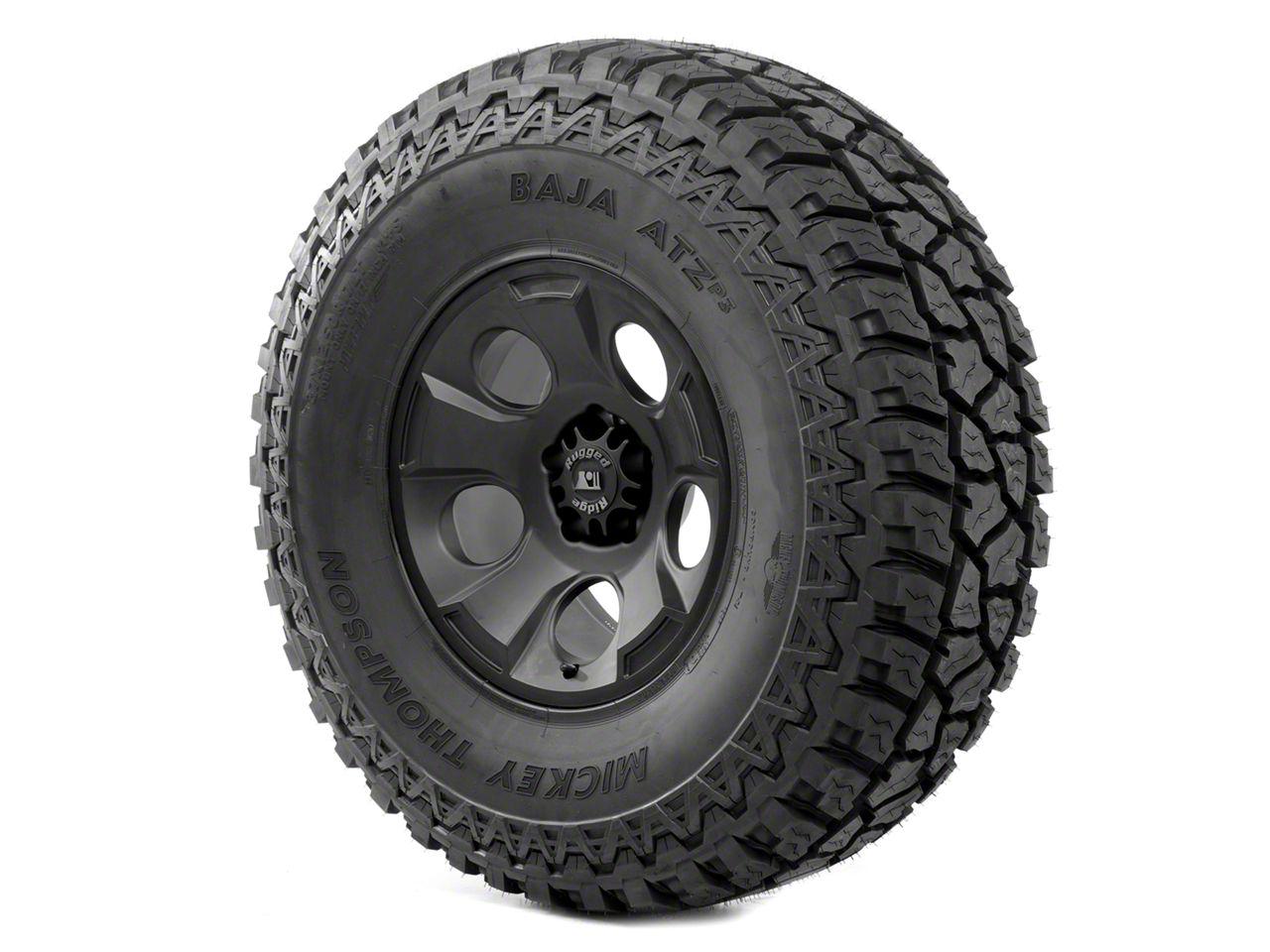 Rugged Ridge Drakon Wheel 17x9 Black Satin and Mickey Thompson ATZ P3 37x12.50x17 Tire Kit (13-18 Jeep Wrangler JK; 2018 Jeep Wrangler JL)