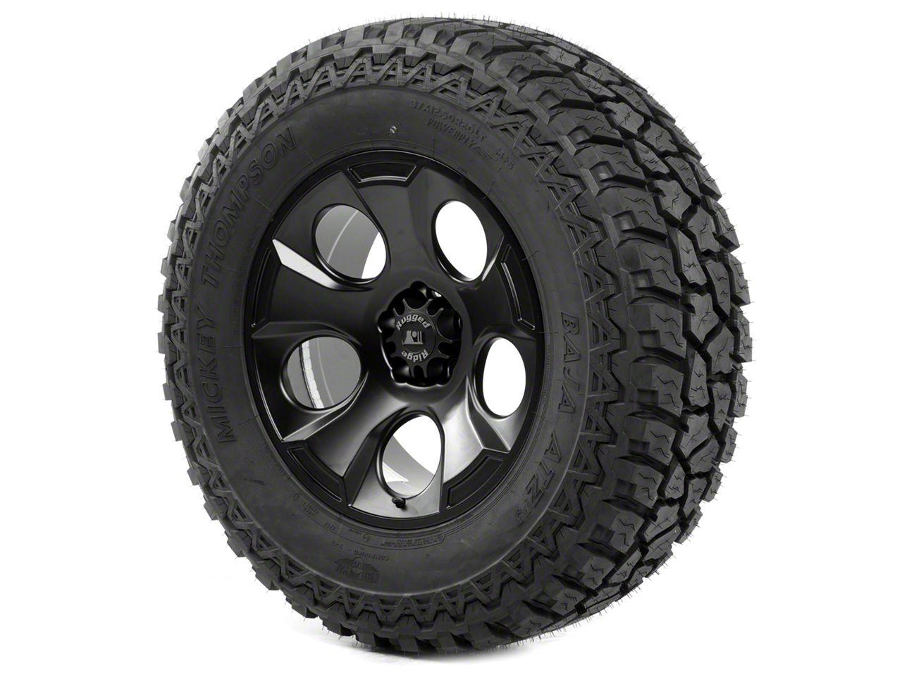 Rugged Ridge Drakon Wheel 20x9 Black Satin and Mickey Thompson ATZ P3 37x12.50x20 Tire Kit (13-18 Jeep Wrangler JK; 2018 Jeep Wrangler JL)