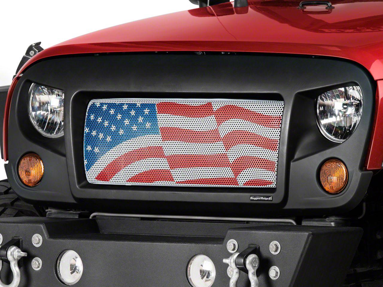 Rugged Ridge Spartan Grille Insert - American Flag (07-18 Jeep Wrangler JK)