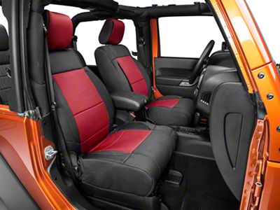 Smittybilt Neoprene Front & Rear Seat Covers - Red (07-18 Jeep Wrangler JK)
