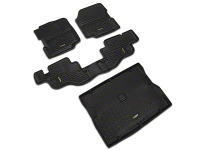 Barricade Front, Rear & Cargo Floor Liners - Black (87-95 Jeep Wrangler YJ)