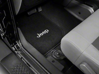 Lloyd Front & Rear Floor Mats w/ Jeep Logo - Black (07-10 Jeep Wrangler JK 2 Door)