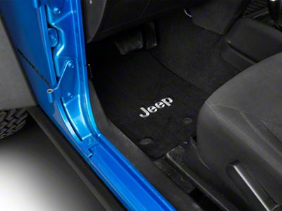 Lloyd Front & Rear Floor Mats w/ Jeep Logo - Black (14-18 Jeep Wrangler JK 2 Door)