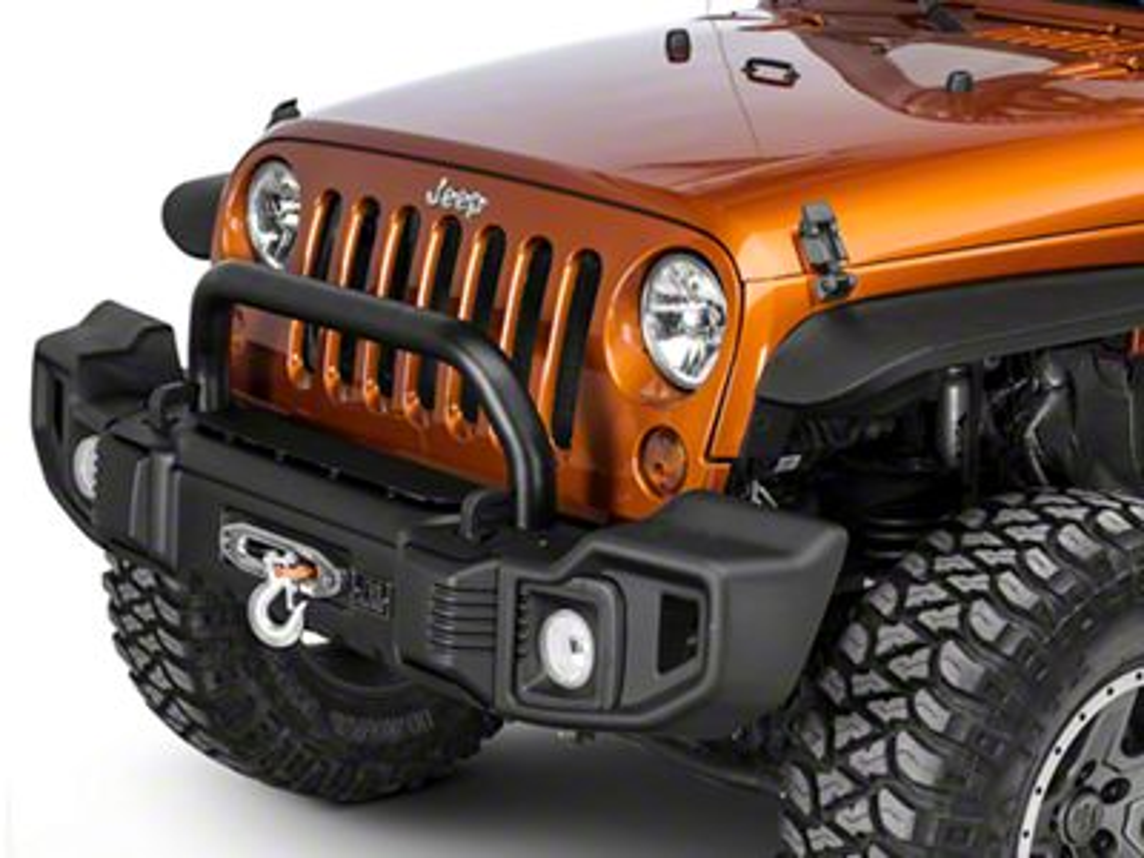 Rugged Ridge Spartacus Front Bumper Kit w/Overrider - Satin Black (07-18 Jeep Wrangler JK)