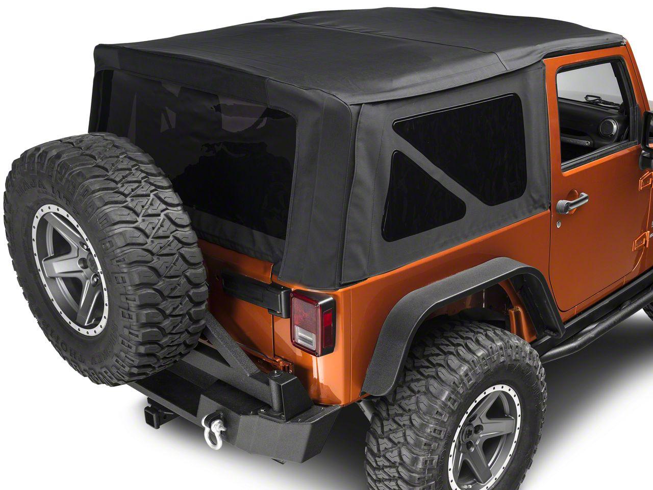 Barricade Premium Replacement Sailcloth Soft Top w/ Tinted Windows - Black Diamond (10-18 Jeep Wrangler JK 2 Door)
