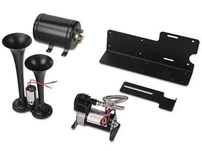 TrailBlaster Dual Air Horn Kit - Black (07-18 Jeep Wrangler JK; 2018 Jeep Wrangler JL)
