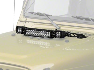 Rugged Ridge 13.5 in. LED Light Bar & 3 in. Square LED Lights w/ Hood Mounted Light Bar (97-06 Jeep Wrangler TJ)
