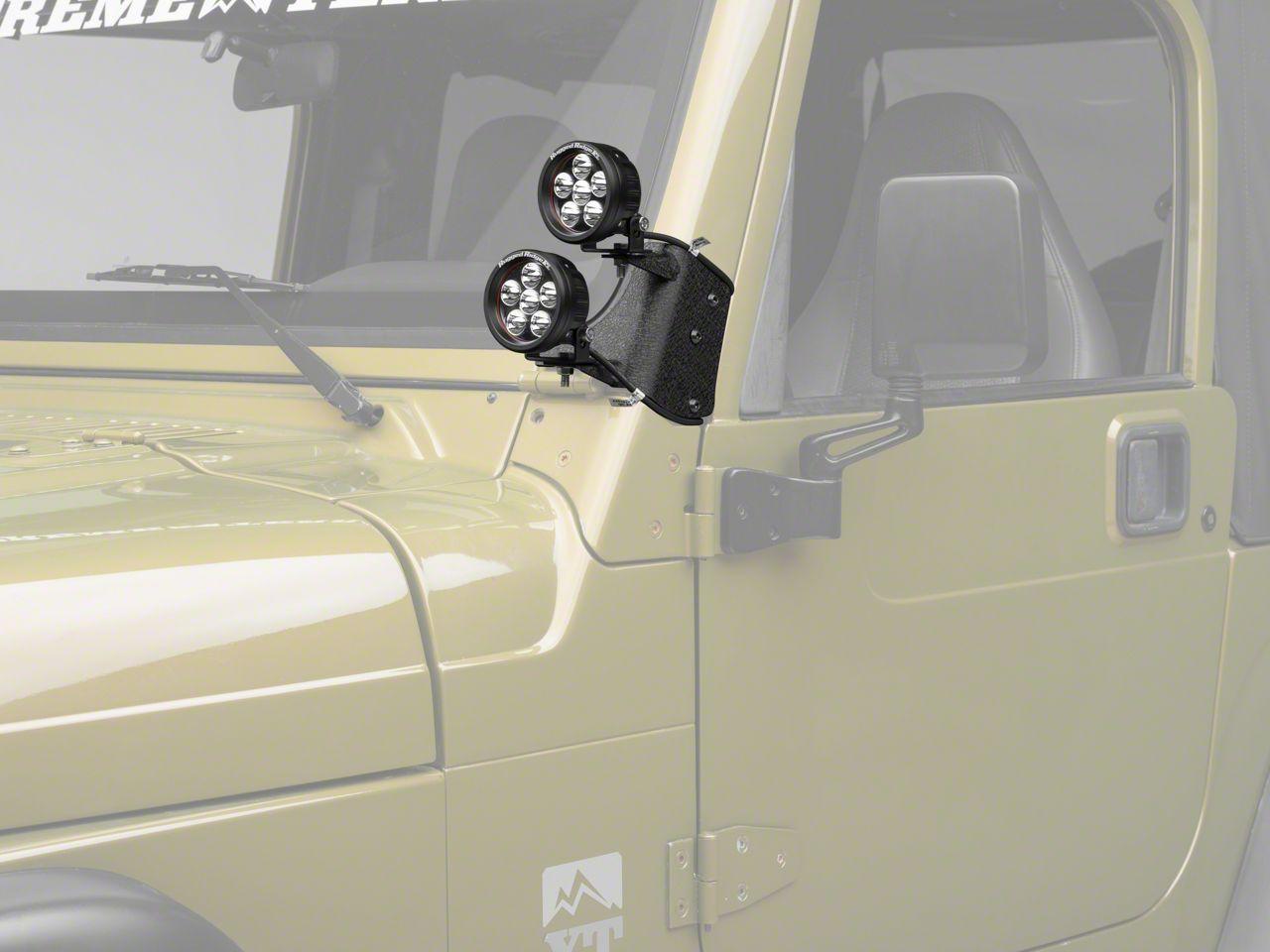 Rugged Ridge 3.5 in. Round LED Lights w/ Dual A-Pillar Light Mounting Brackets (97-06 Jeep Wrangler TJ)