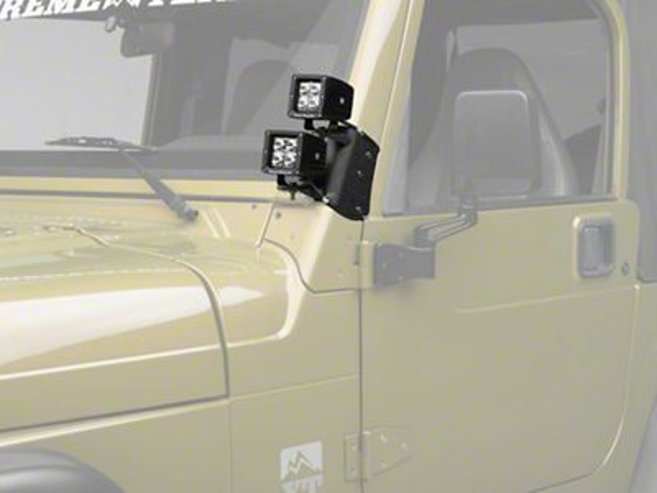 Rugged Ridge 3 in. Square LED Lights w/ Dual A-Pillar Light Mounting Brackets (97-06 Jeep Wrangler TJ)