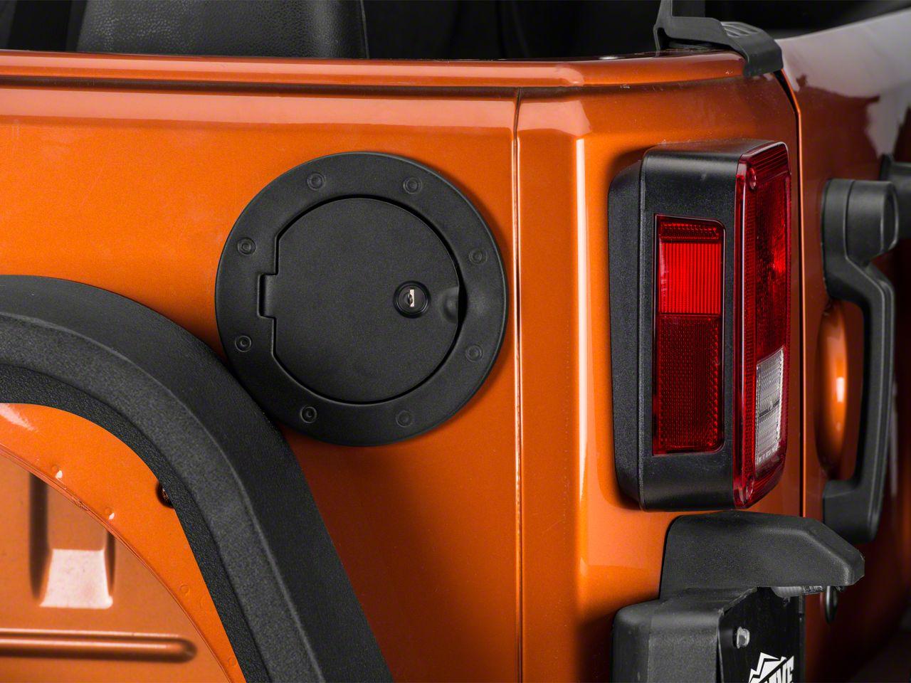 Rugged Ridge Locking Gas Cap Door - Textured Black (07-18 Jeep Wrangler JK)