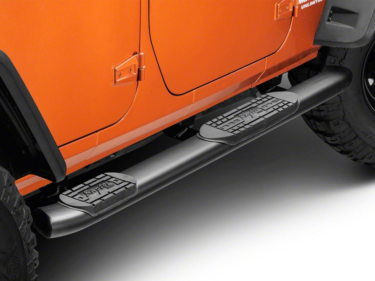 Raptor Series 5 in. OE Style Curved Oval Side Step Bars - Black (07-18 Jeep Wrangler JK 4 Door)