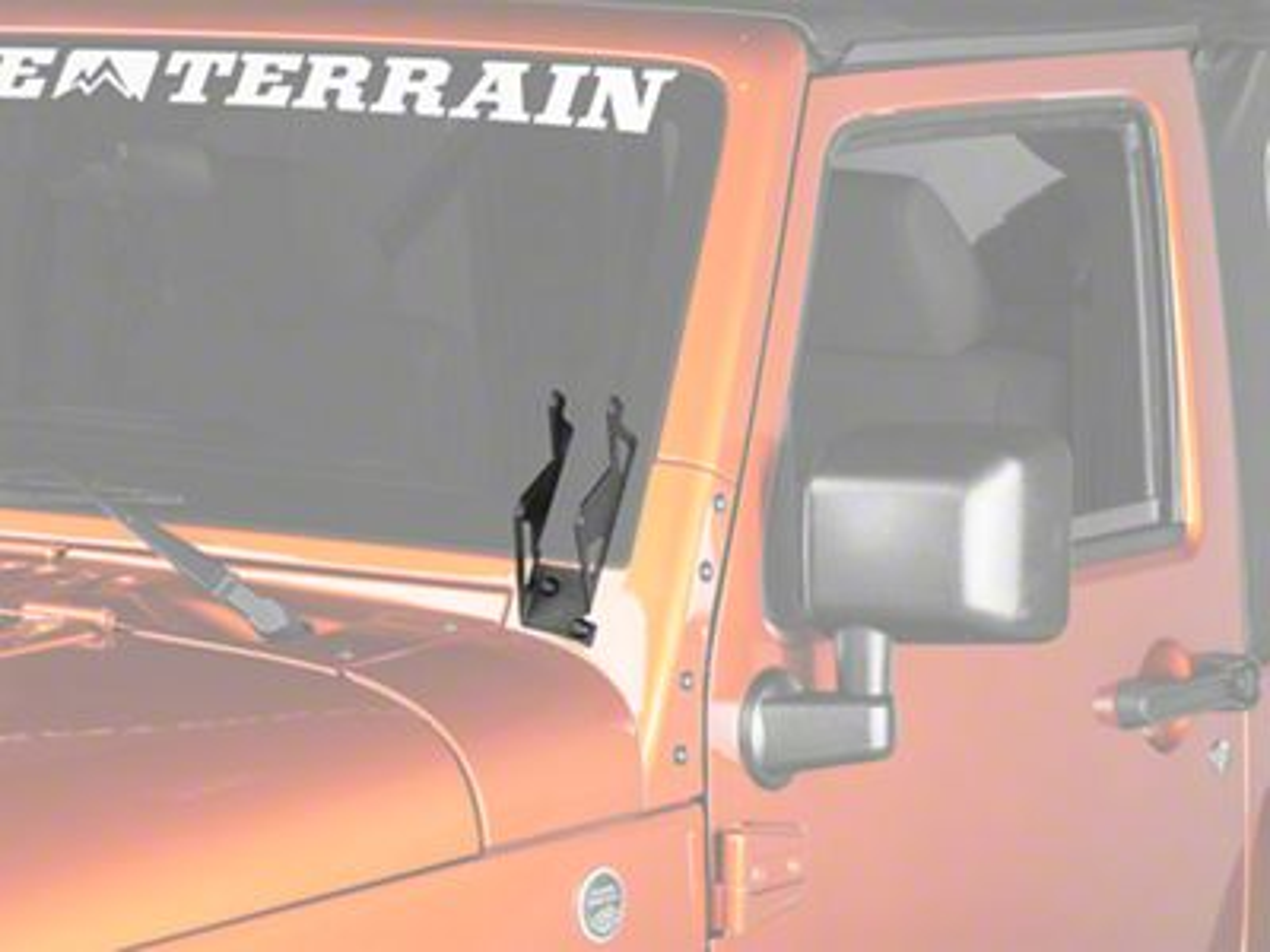 RedRock 4x4 Dual Vertical Windshield LED Light Mount Brackets - Textured Black (07-18 Jeep Wrangler JK)