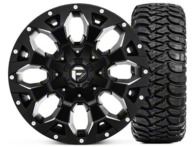 Fuel Wheels Assault Black Machined Wheel 17x9 and Mickey Thompson Baja MTZ Radial Tire w/OWL 305/65-17 Kit (07-18 Jeep Wrangler JK)
