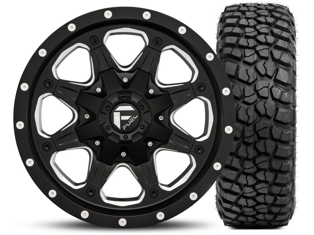 Fuel Wheels Boost Black/Milled 16x8 Wheel - and BF Goodrich Mud Terrain T/A KM2 265/75R16 Kit (07-18 Wrangler JK)