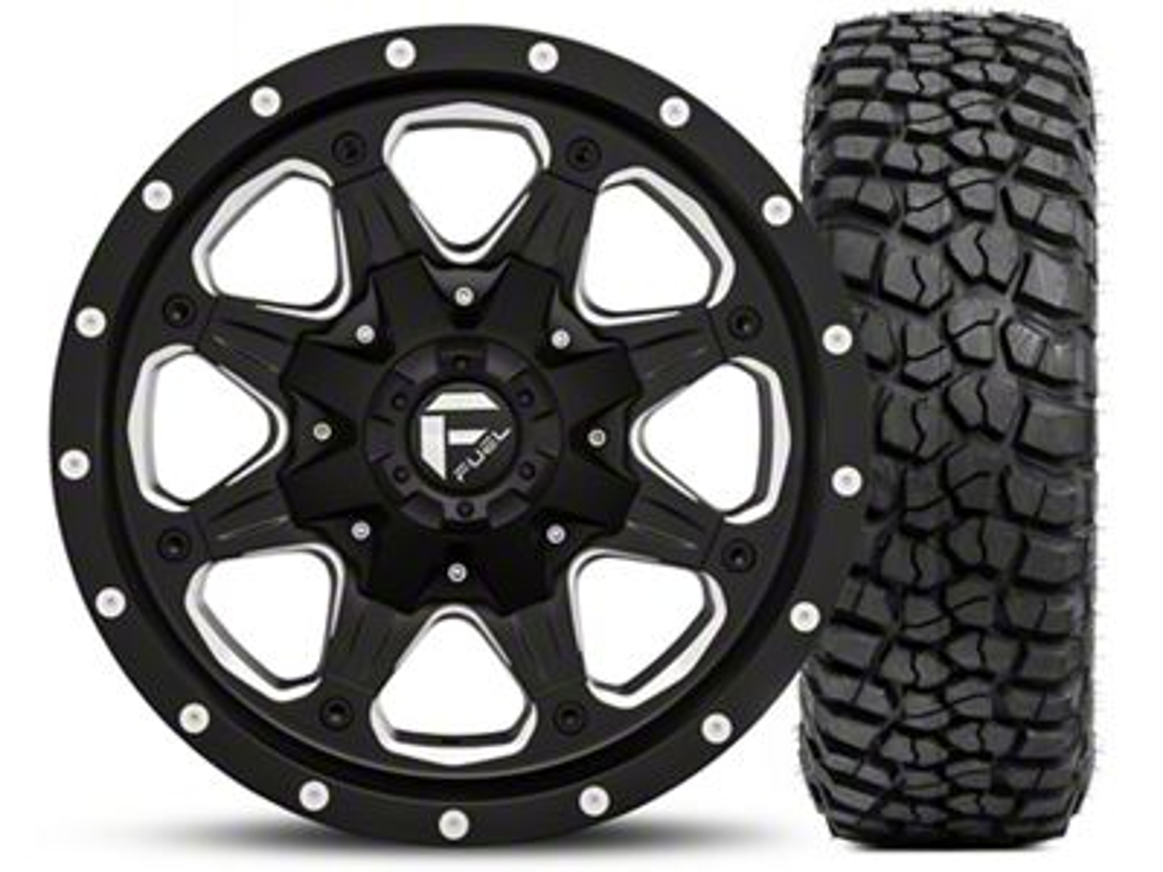 Fuel Wheels Boost Black/Milled 16x8 Wheel - and BF Goodrich Mud Terrain T/A KM2 315/75R16 Kit (07-18 Jeep Wrangler JK; 2018 Jeep Wrangler JL)