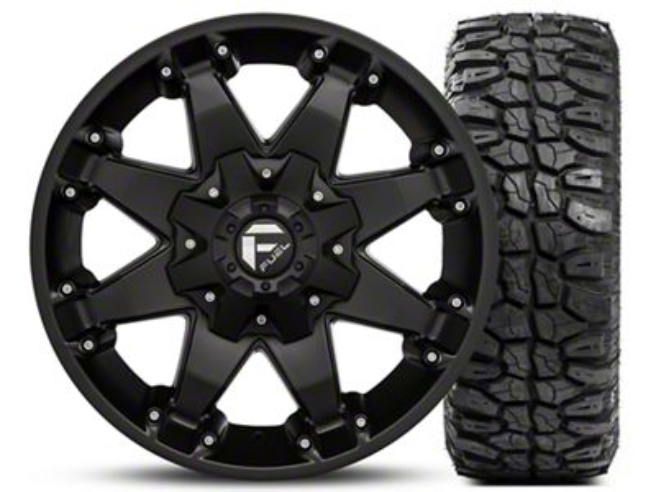 Fuel Wheels Octane Matte Black 17x8.5 and Mudclaw M/T LT265/70R17 Kit (07-18 Jeep Wrangler JK; 2018 Jeep Wrangler JL)