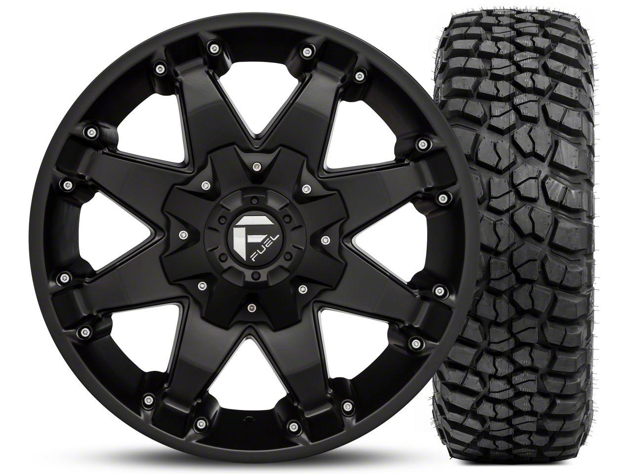 Fuel Wheels Octane Matte Black 17x8.5 and BF Goodrich Mud Terrain T/A KM2 35x12.50R17 Kit (07-18 Jeep Wrangler JK; 2018 Jeep Wrangler JL)