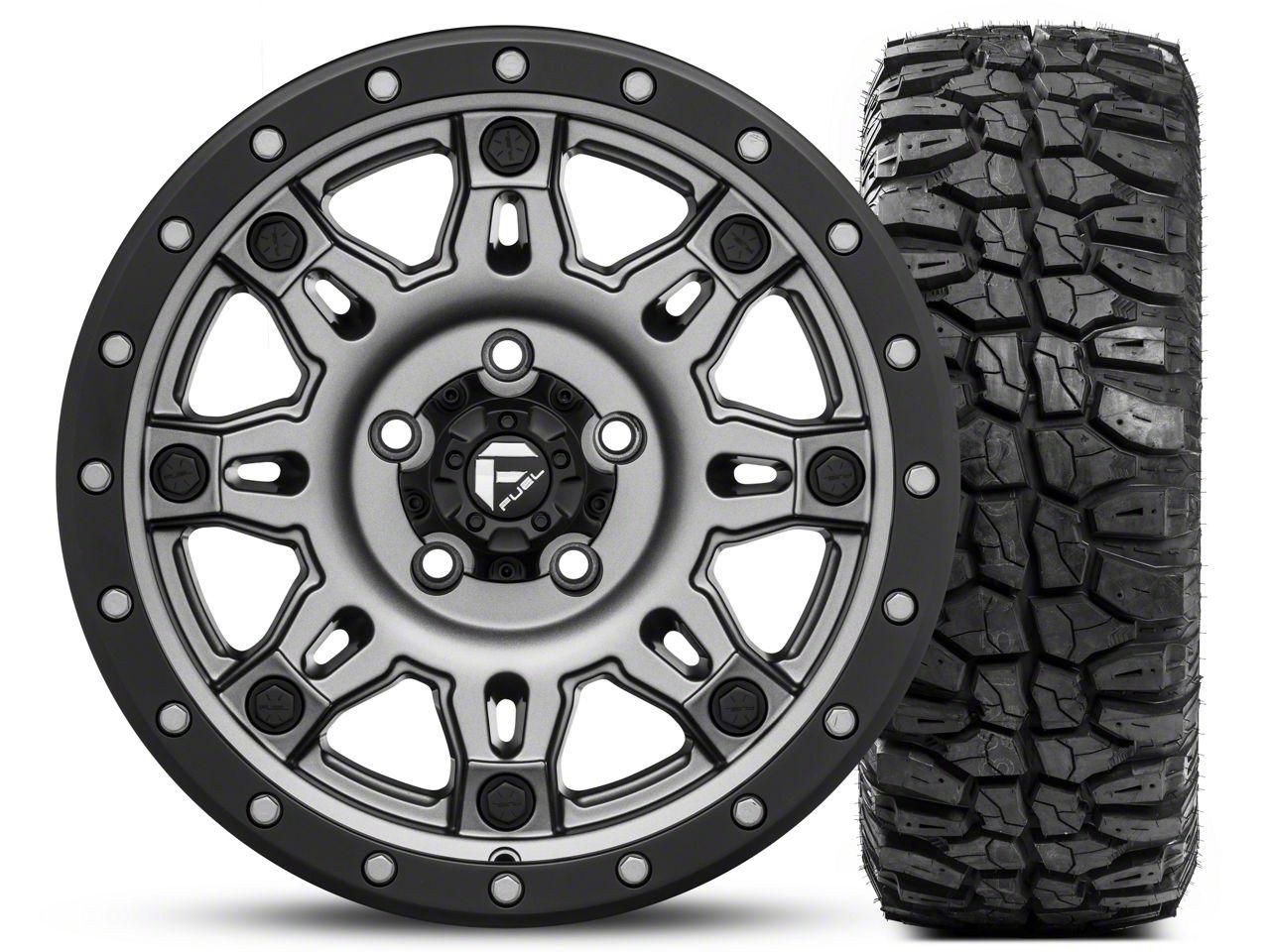 Fuel Wheels Hostage III Gunmetal and Black Wheel 17x9 and Mudclaw M/T LT265/70R17 Kit (07-18 Jeep Wrangler JK; 2018 Jeep Wrangler JL)