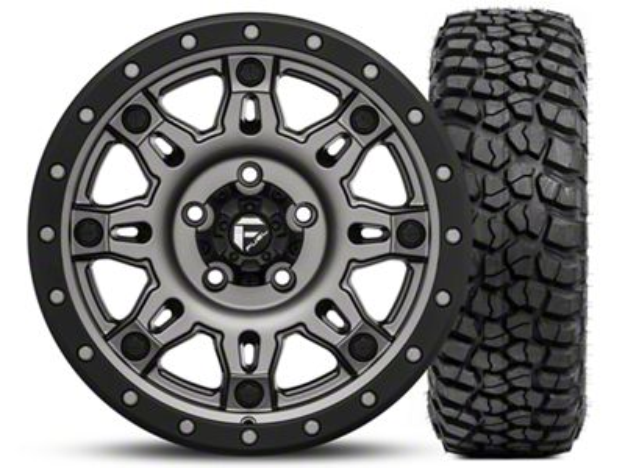 Fuel Wheels Hostage III Gunmetal and Black Wheel 17x9 and BF Goodrich Mud Terrain T/A KM2 265/70R17 Kit (07-18 Jeep Wrangler JK; 2018 Jeep Wrangler JL)