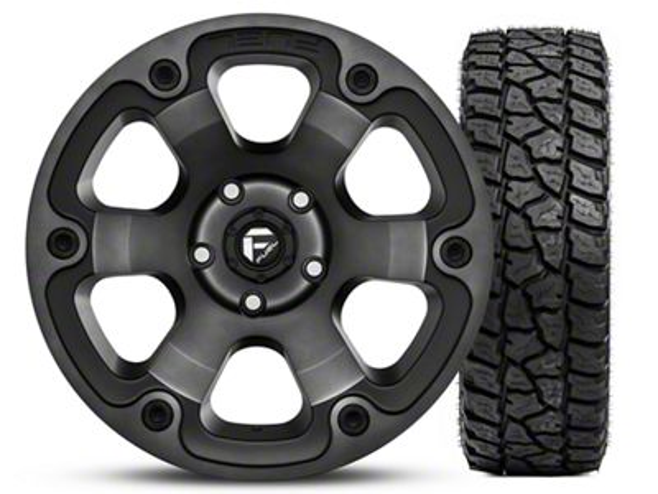 Fuel Wheels Beast Black Machined Wheel 17x9 and Mickey Thompson Baja ATZP3 LT265/70R17 Kit (07-18 Jeep Wrangler JK)