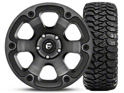 Fuel Wheels Beast Black Machined Wheel 17x9 and Mickey Thompson Baja MTZ Radial Tire w/OWL 305/65-17 Kit (07-18 Jeep Wrangler JK)